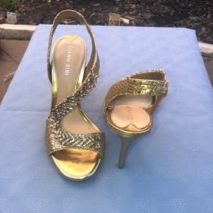 Gianni Bini Metallic Jeweled Dress Sandals.